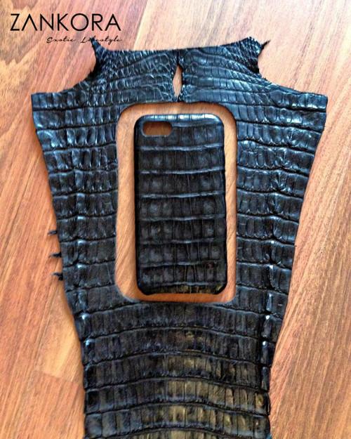 Personalized Crocodile Leather Phone Case by ZANKORA