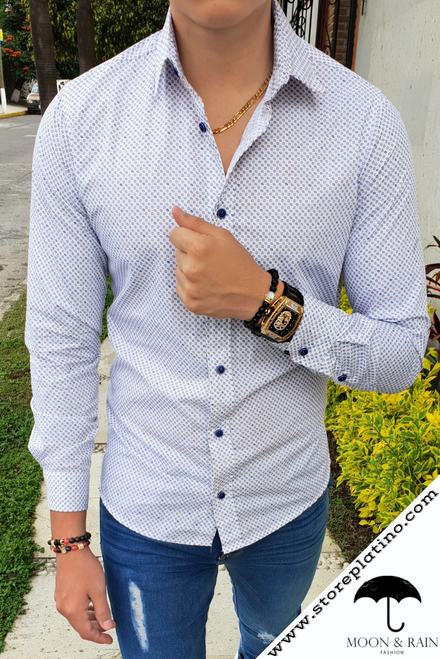 White Slim Fit Shirt with Mini Grey and Blue Figurines  by Moon & Rain