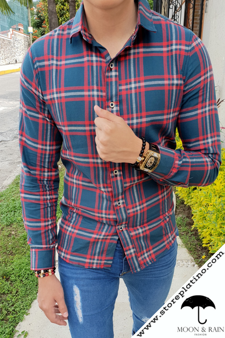 Plaid Slim Fit Shirt Green with Red and Grey Figurines  by Moon & Rain