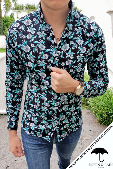 Black Slim Fit Shirt Green with Green Flowers Figurines  by Moon & Rain
