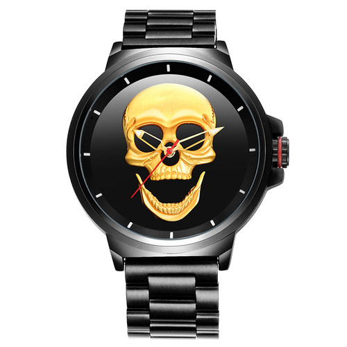 SKONE 3D Skull Watches Men Luxury Gold/Rose Gold