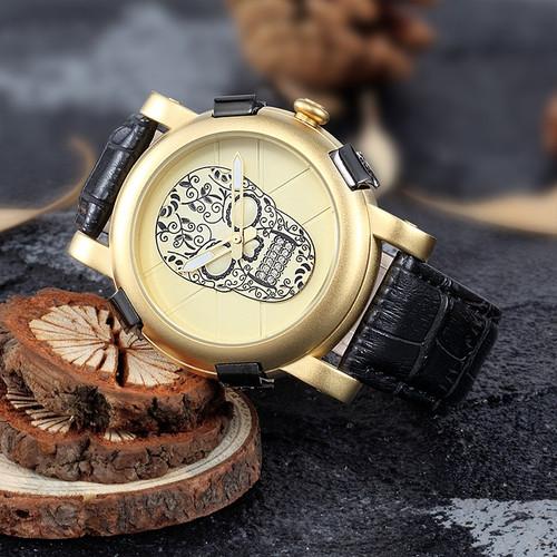 SKONE Mens Watches Luxury Skull Watch Pirate Gold