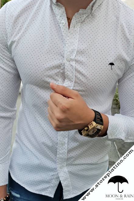 White Slim Fit Shirt with Multicolor Dots  by Moon & Rain