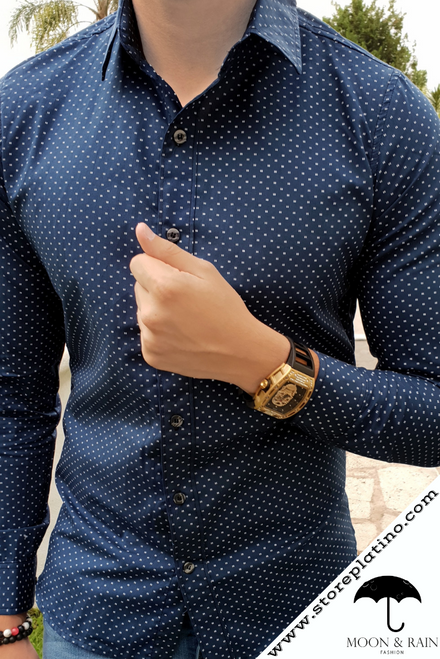 Navy Blue Slim Fit Shirt with White Dots  by Moon & Rain
