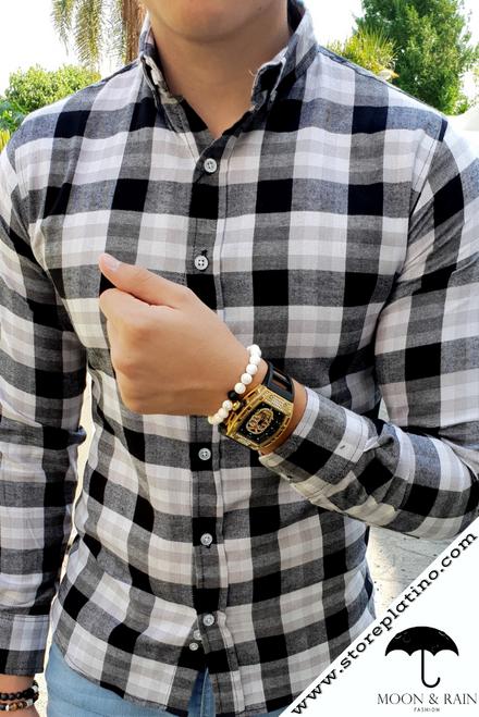 Plaid Slim Fit Shirt Black/Gray/White by Moon & Rain