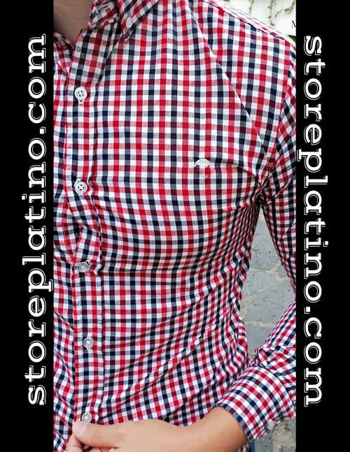 Plaid Slim Fit Shirt Navy Blue/Red/White by Moon & Rain