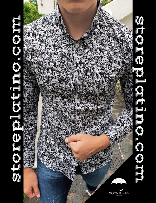 Slim Fit Shirt Black and White Floral by Moon & Rain