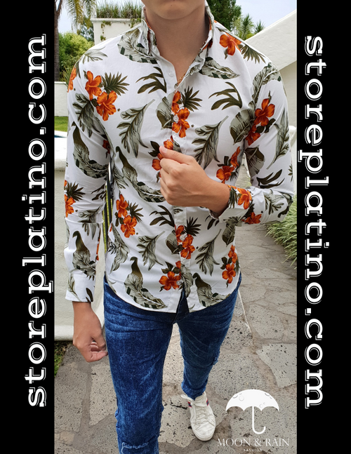 Slim Fit Shirt White with Green and Orange Floral by Moon & Rain