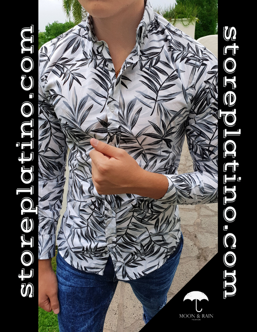 Slim Fit Shirt White with Gray Leaves by Moon & Rain