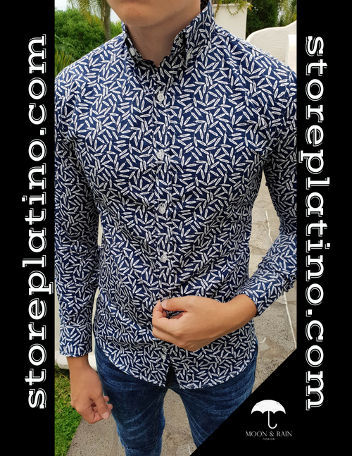 Slim Fit Shirt Navy Blue with White Leaves by Moon & Rain
