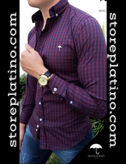 Men's Red & Purple Checks Slim Fit Dress Shirt  by Moon & Rain