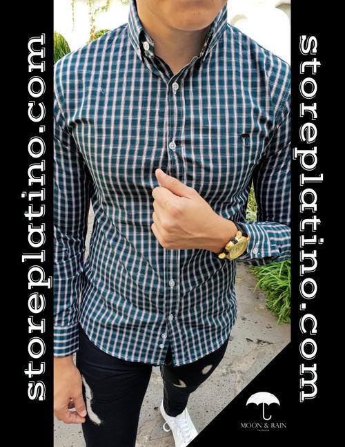Men's Green Checks Slim Fit Dress Shirt  by Moon & Rain