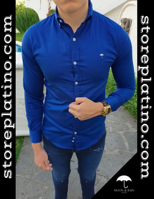 Men's Royal Blue Slim Fit Dress Shirt  by Moon & Rain