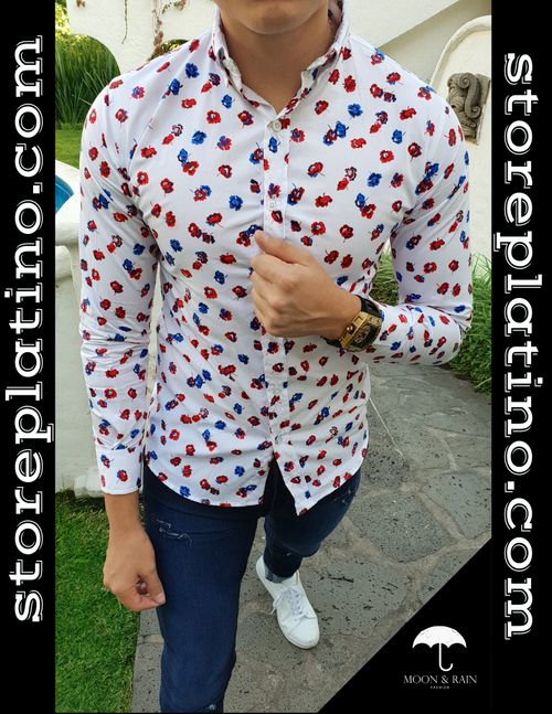 Men's White Slim Fit Blue and Red Flowers by Moon & Rain