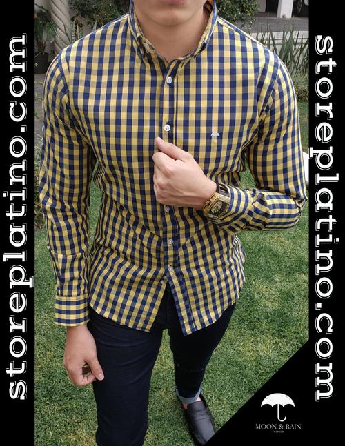 Checks Men's Slim Fit Yellow and Navy by Moon & Rain