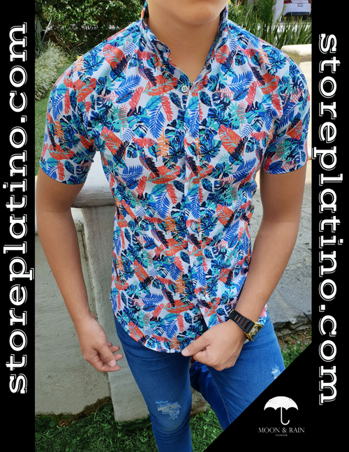 Short Sleeve Slim Fit Shirt Multicolor Leaves by Moon & Rain