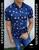 Short Sleeve Slim Fit Shirt Blue/Palms by Moon & Rain