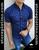 Short Sleeve Slim Fit Shirt Blue/Fish by Moon & Rain