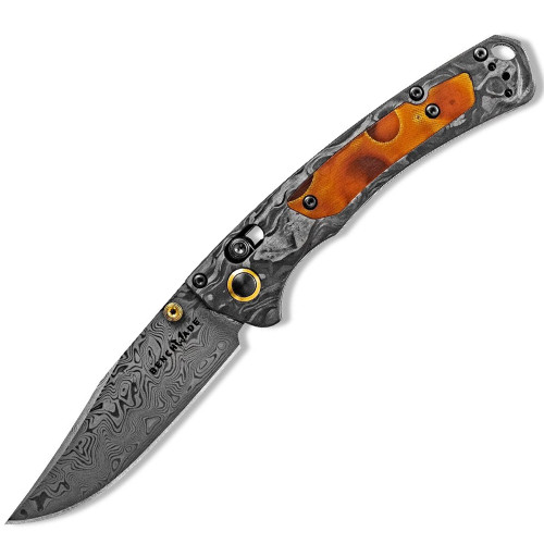 "Benchmade Mini Crooked River Folding Knife AXIS Lock Black Carbon Fiber [3.40"" Damascus Damasteel] 15085-201"