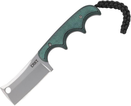 "CRKT Minimalist Cleaver Fixed Blade Knife Green Micarta [2.125"" Bead Blast 5Cr15MoV] Cleaver"