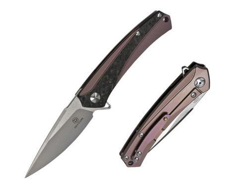 "Defcon Barracuda Manual Knife Frame Lock Red Titanium/Carbon Fiber [3.5"" Plain Satin D2] TF3330-3"