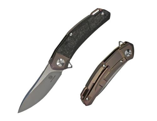"Defcon Ulu Manual Knife Frame Lock Black Bronze Carbon Fiber [3.5"" Plain Stonewash] TF3217-3"