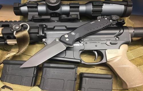"Spartan Knives Pallas Manual Knife Plunge Lock Black Aluminum [3.625"" Black S35VN] Tanto SF3BKT"