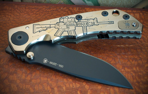 """Spartan Knives Special Edition Harsey M4 Rifle Manual Knife Frame Lock Bronze Titanium [3.875"""" Black S35VN] Drop Point SF5M4RIFLE"""