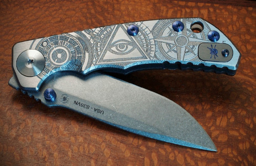 """Spartan Knives Special Edition Harsey Oculus Manual Knife Frame Lock Gray Titanium [3.875"""" Stonewash S35VN] Drop Point SF5OCULUS"""