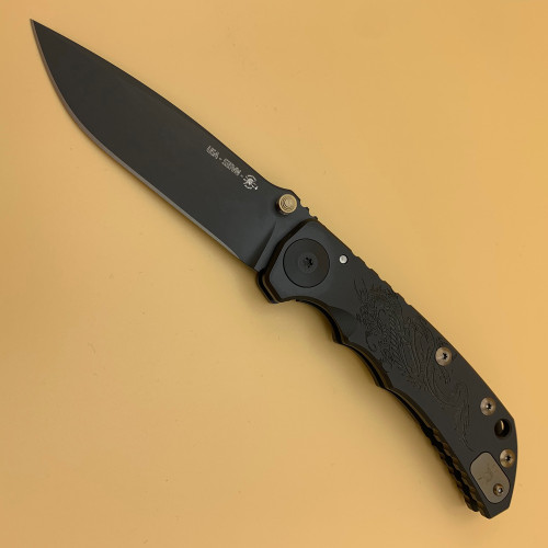 "Spartan Knives Special Edition Harsey Dragon Manual Knife Frame Lock Black Titanium [3.95"" Black S35VN] Drop Point SF5CUSTOMS35VNDRAGON"
