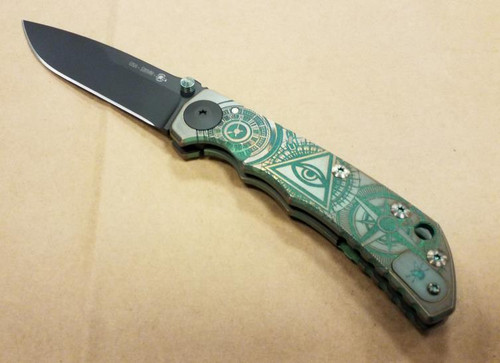 "Spartan Knives Special Edition Harsey Oculus Manual Knife Frame Lock Green/BronzeTitanium [3.875"" Black S35VN] Drop Point SF5CUSTOMS35VNOCULUSGN"