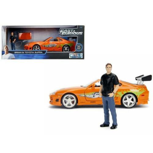 Model Car - 1:24 F&F Brian's 1996 Toyota Supra Orange (w/ Brian O'Cornner Figure)