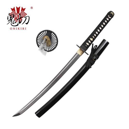 Black [Wakizashi] Round Guard Handmade Katana 1045