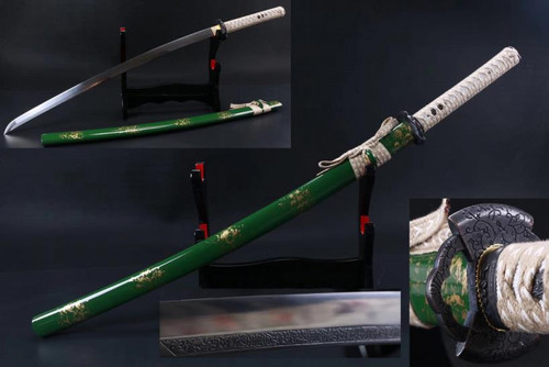 Green Samurai Sword 1045 WT Wrap Handmade