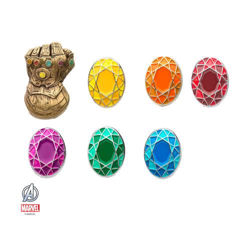 Avengers Infinity Gauntlet & Stones Set of 7 Color Lapel Pin