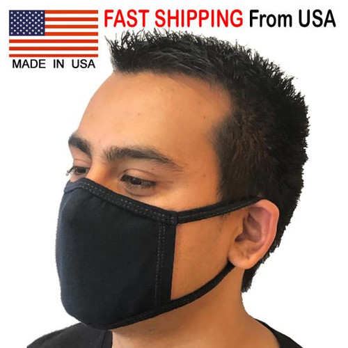 Face Mask Black 100% Cotton USA Made