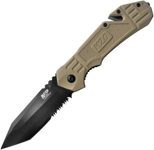"""Smith & Wesson M&P M2.0 Spring Assisted Knife Liner Lock Tan Aluminum [3.27"""" Serrated Black] Tanto"""
