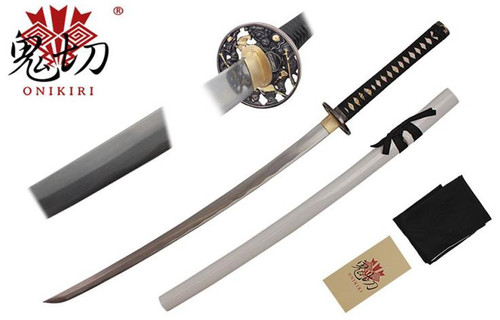 "41"" Katana w/ Damascus Steel Blade & Flower Tsuba Handmade (Black Version)"