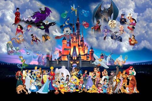 Disney Magic Kingdom Group Cartoon Poster