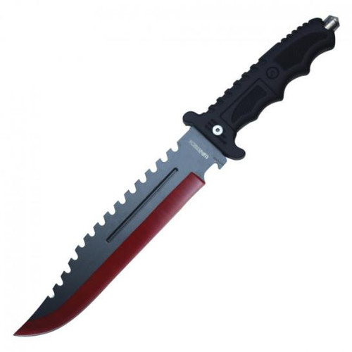 Red Two Tone Hunting Knife 13.5""