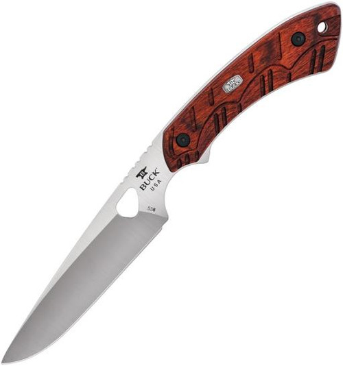 "Buck Open Season Small Game Fixed Blade Knife Red Wood [ 4.25"" Plain Satin ] Drop Point BU538RWS"