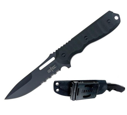 "S-tec Tactical Hunting Knife Serrated w/ Kydex Sheath 9.5"" G10 Handle"
