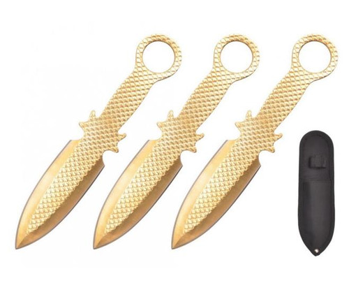Gold Textured 3pc Throwing Knife 6.5""