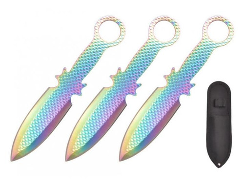 Rainbow Textured 3pc Throwing Knife 6.5""