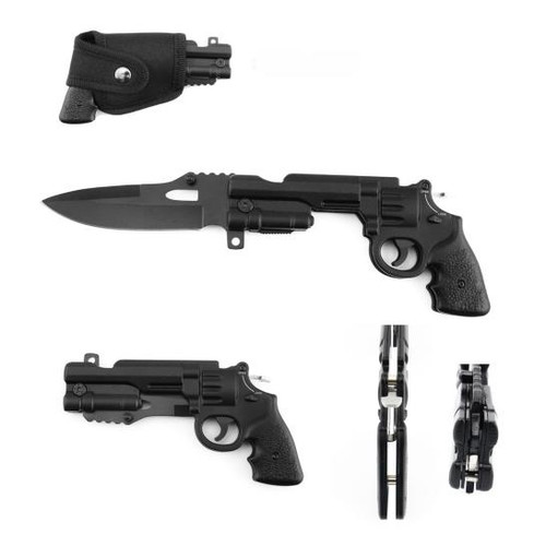 Revolver Folding Knife Spring AO With Valcro Pouch
