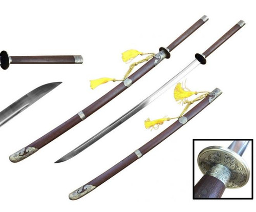 """57"""" Miao Dao Chinese Sword 75Mn Spring Steel Hand Forge"""