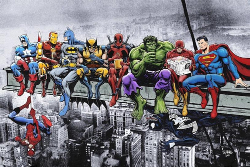 Superheroes Lunch on Skyscraper Comic Poster