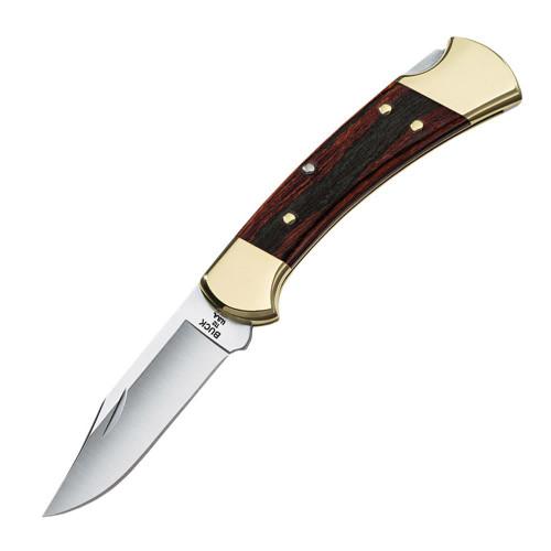 "Buck Ranger Manual Knife Brown Wood [ 3.00"" Plain Satin ] Clip Point BU112BRS-B"