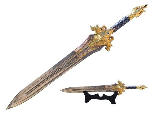 """WOW Gold Lion King Sword Blue Handle 30"""" Small"""