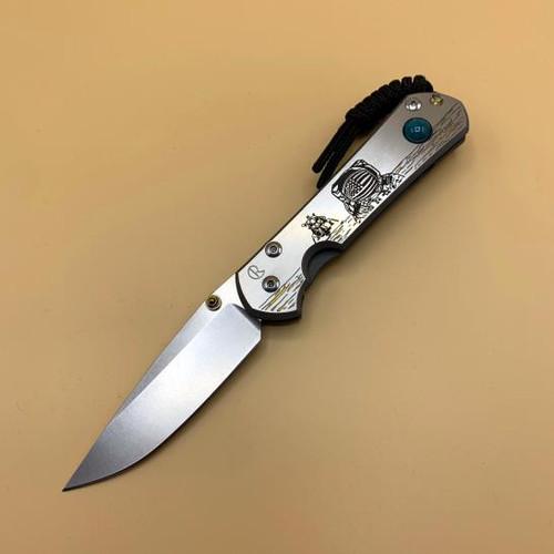 "CRK Small Sebenza 31 Manual Knife (CGG Lunar Landing) [2.99"" Plain Stonewash] Drop Point"
